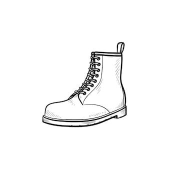 Scarpone da trekking icona di doodle di contorni disegnati a mano. sport, stile, moda, calzature, trekking, concetto di camminata in collina. illustrazione di schizzo vettoriale per stampa, web, mobile e infografica su sfondo bianco.