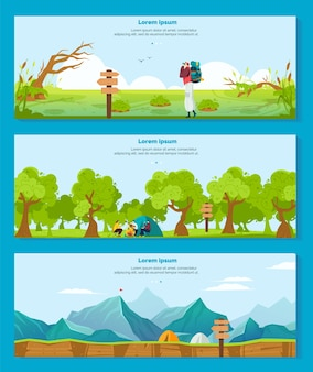 Escursioni in campeggio illustrazioni vettoriali avventura. collezione di banner piatto del fumetto con escursionista carattere turistico zaino in spalla, camper seduti vicino al fuoco e tenda nella foresta naturale, insieme di turismo all'aperto