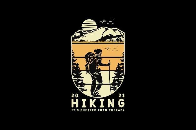 Escursionismo, silhouette di design in stile retrò