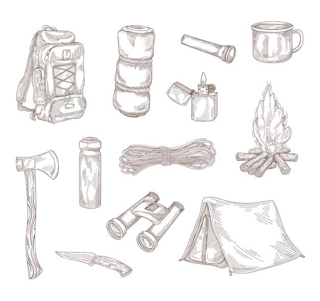 Insieme dell'illustrazione del disegno della mano dell'attrezzatura da escursionismo