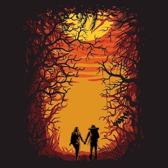 Escursionismo nella foresta insieme