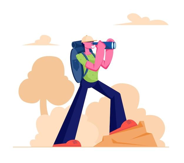 Escursionismo uomo che conduce uno stile di vita attivo trekking con binocolo e zaino che cammina in montagne o colline, fumetto illustrazione piatta