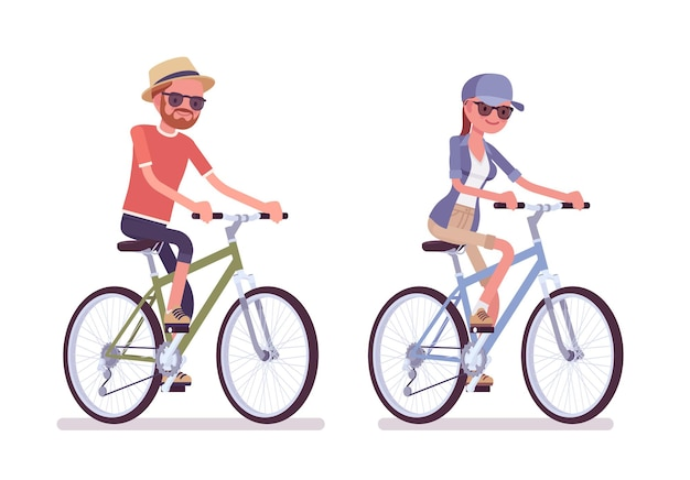Escursionista uomo, donna in sella a una bicicletta