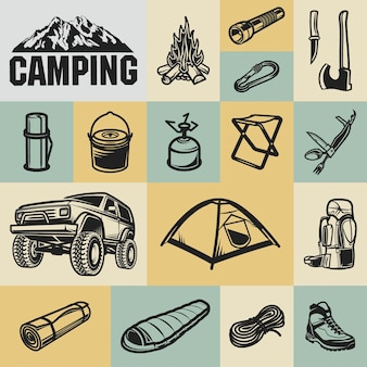 Attrezzatura da trekking, alpinismo e campeggio - set di icone a