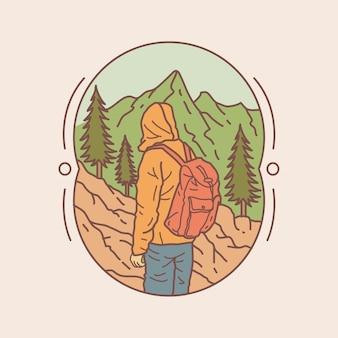 Escursionismo in montagna nell'illustrazione della natura