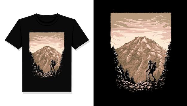 Maglietta dell'illustrazione delle montagne dell'escursionismo