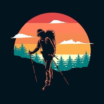 Escursionismo silhouette illustrazione