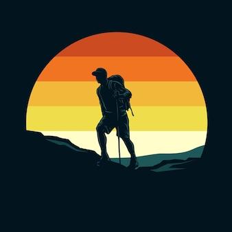 Illustrazione grafica retrò sagoma escursionismo
