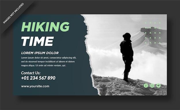 Modello di banner viaggio nel tempo di escursionismo Vettore Premium