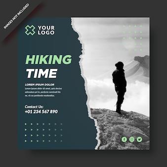 Feed di instagram di viaggio nel tempo di escursionismo