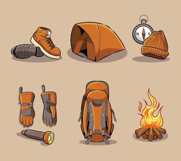 Collezione di set di strumenti per l'escursionismo