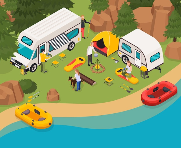 Illustrazione isometrica di vacanze in campeggio di turisti escursionistici