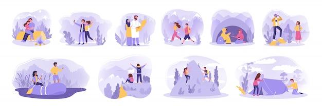 Escursionismo, viaggi, attività, turismo, concetto di campeggio