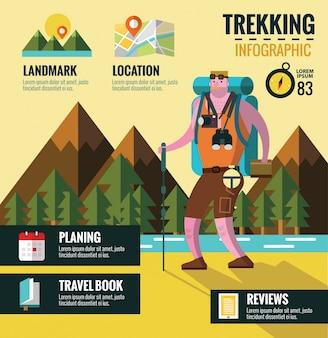 Escursioni e trekking info grafica. priorità bassa della montagna. elementi di design piatto, vettore.