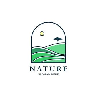 Illustrazione del design del logo del paesaggio collinare