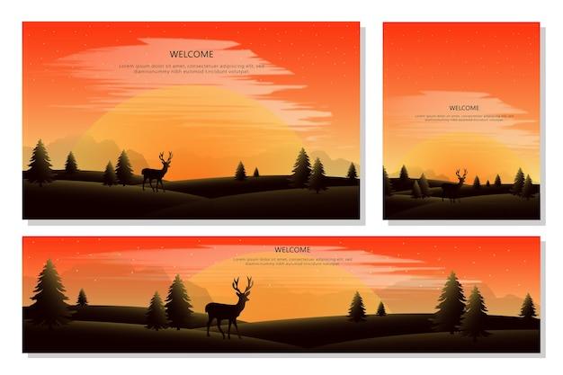 Set di banner di paesaggio collinare e montano, uno stile di design piatto. illustrazione di sfondi