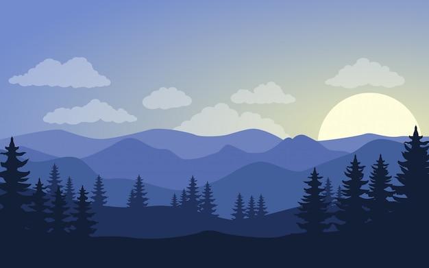 Illustrazione della siluetta dei pini e delle colline