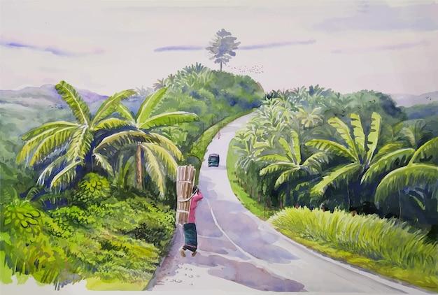 La strada collinare è uno spettacolo molto bello con l'illustrazione del paesaggio della natura dell'acquerello degli alberi