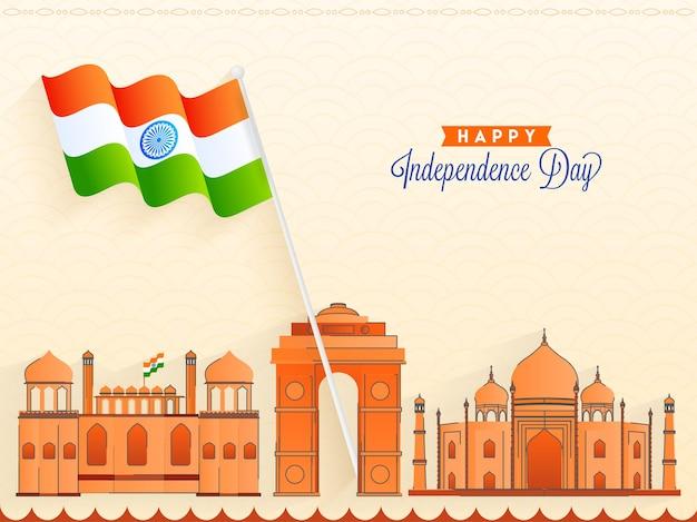 Lingua hindi di felice calligrafia del giorno dell'indipendenza con bandiera indiana e monumenti famosi indiani su sfondo beige.