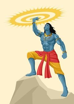 Dio e dea indù, serie di illustrazioni vettoriali mitologia indiana, lord krishna che tiene il chakra di sudarshan