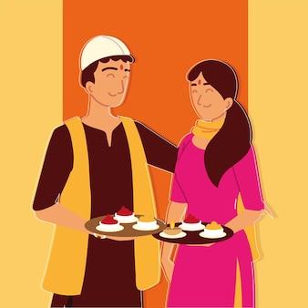 Persone indù con cibo