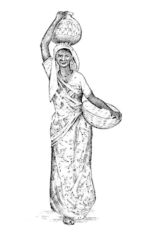Donna indù che lavora in india. signora con una bacinella in testa. disegnato a mano inciso, stile vintage.