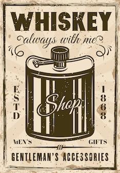 Fiaschetta per poster pubblicitario vintage di whisky per l'illustrazione vettoriale del negozio di articoli da regalo del gentiluomo. texture grunge e testo su livelli separati