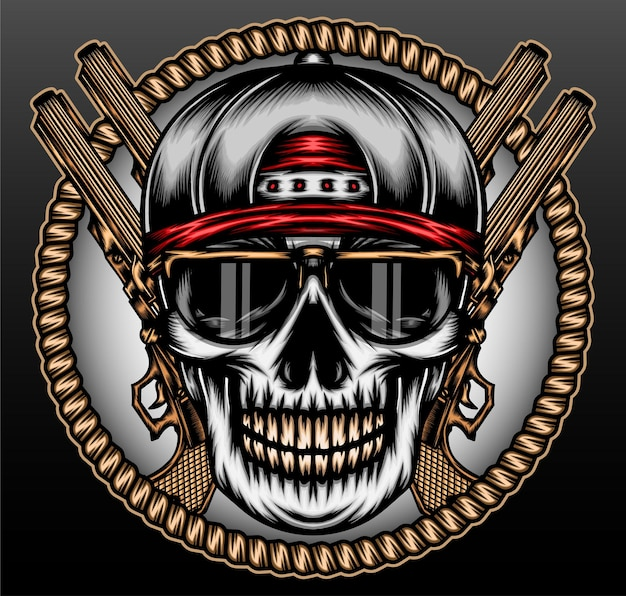 Cranio di gangsta hip-hop isolato sul nero
