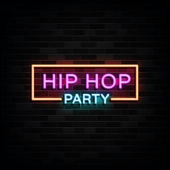 Insegne al neon di festa hip-hop. insegna al neon del modello di progettazione