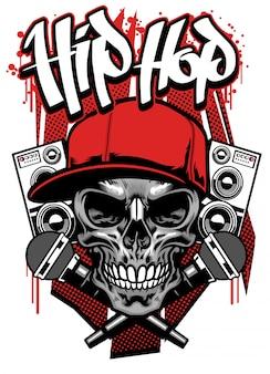Design t-shirt hip hop con cappuccio indossato da teschio