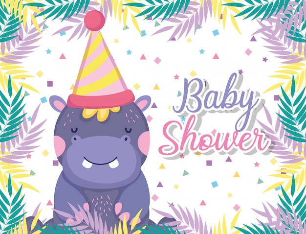 Hipopotamus con cappello da festa per la festa della baby shower