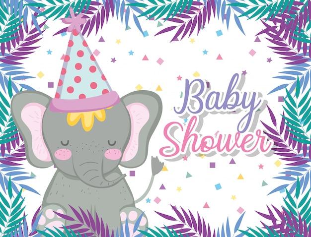 Hipopotamus con cappello da festa per celebrare la baby shower
