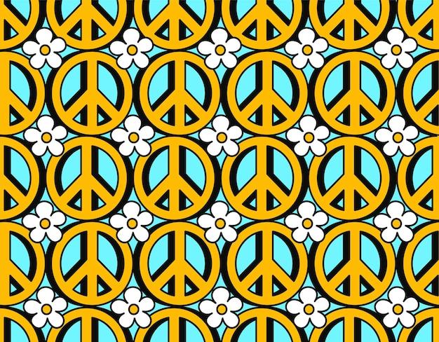 Simbolo pacifista hippie anni '70 e fiori senza cuciture. carta da parati dell'illustrazione del fumetto di scarabocchio di linea disegnata a mano di vettore. stampa trippy anni '70 lsd, cerchio pacifico anni '60, concetto di modello senza cuciture simbolo hippie
