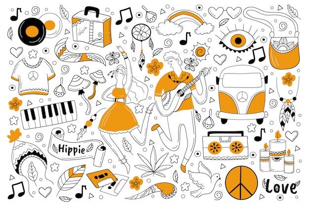 Insieme di doodle del hippie