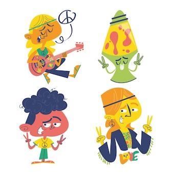 Set di adesivi doodle hippie