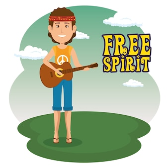 Hippie uomo con un cartone animato di chitarra