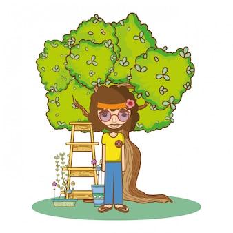 Cartone animato di persone hippie