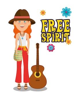Donna hippie con un cartone animato di chitarra