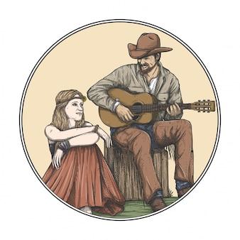Illustrazione di hippy e cowboy