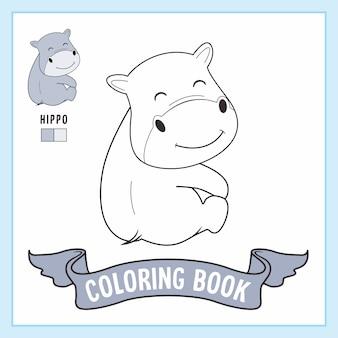 Libro da colorare di animali ippopotamo