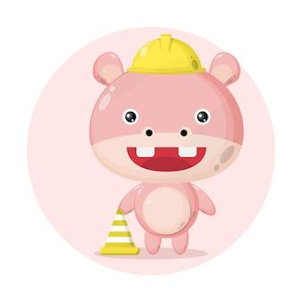 Costruttore di ippopotami simpatico personaggio logo