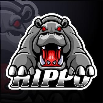 Disegno della mascotte logo hippo esport