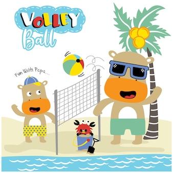 Famiglia di ippopotamo giocando a pallavolo divertente cartone animato animale