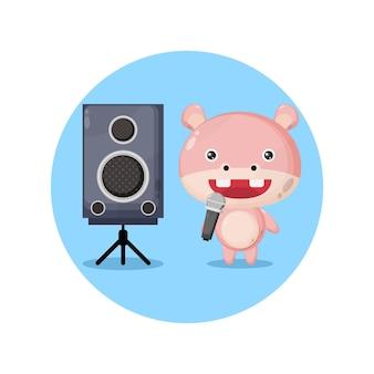 Simpatico personaggio mascotte ippopotamo karaoke