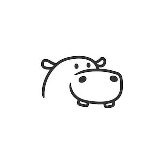 Ippopotamo logo linea muta personaggio mascotte
