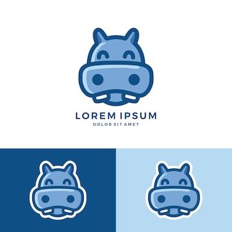 Logo di ippopotamo mascotte dei cartoni animati