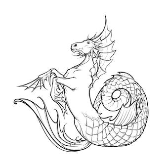 Creatura mitologica greca di ippocampo.