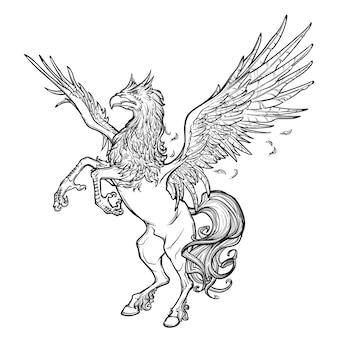 Creatura mitologica greca di ippogrifo.