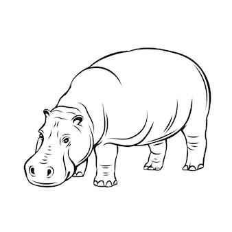 Icona animale ippopotamo. distintivo di ippopotamo per zoo
