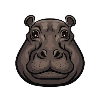 Testa di muso selvatico animale ippopotamo, simbolo isolato. icona del club di cacciatori o caccia sportiva e caccia all'avventura safari, ippopotamo africano selvaggio, zoo e segno del parco zoologico